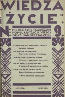 Wiedza i Życie : miesięcznik poświęcony popularyzacji wiedzy oraz samokształceniu R. 1, z. 9 (list. 1926)