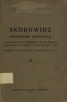 Skorowidz przepisów prawnych ogłoszonych w Dzienniku Ustaw Rzeczypospolitej Polskiej w latach 1918-1935