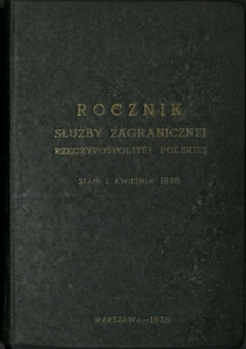 Rocznik Służby Zagranicznej Rzeczypospolitej Polskiej według stanu na 1 kwietnia 1938
