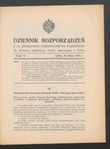 Dziennik Rozporządzeń c. i k. Jeneralnego Gubernatorstwa Wojskowego dla Austryacko-Węgierskiego Obszaru Okupowanego w Polsce 1916, Cz. 6 (26 marz.)