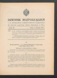 Dziennik Rozporządzeń c. i k. Jeneralnego Gubernatorstwa Wojskowego dla Austryacko-Węgierskiego Obszaru Okupowanego w Polsce 1916, Cz. 7 (3 kwiec.)