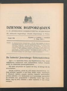Dziennik Rozporządzeń c. i k. Jeneralnego Gubernatorstwa Wojskowego dla Austryacko-Węgierskiego Obszaru Okupowanego w Polsce 1916, Cz. 8 (11 maj)