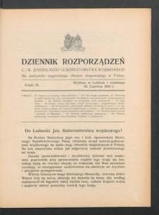 Dziennik Rozporządzeń c. i k. Jeneralnego Gubernatorstwa Wojskowego dla Austryacko-Węgierskiego Obszaru Okupowanego w Polsce 1916, Cz. 9 (19 czerw.)