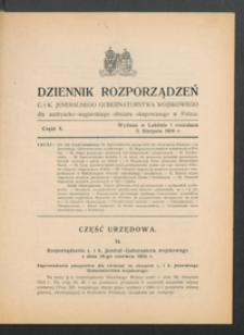 Dziennik Rozporządzeń c. i k. Jeneralnego Gubernatorstwa Wojskowego dla Austryacko-Węgierskiego Obszaru Okupowanego w Polsce 1916, Cz. 10 (3 sierp.)