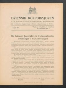 Dziennik Rozporządzeń c. i k. Jeneralnego Gubernatorstwa Wojskowego dla Austryacko-Węgierskiego Obszaru Okupowanego w Polsce 1916, Cz. 16 (8 list.)