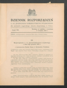 Dziennik Rozporządzeń c. i k. Jeneralnego Gubernatorstwa Wojskowego dla Austryacko-Węgierskiego Obszaru Okupowanego w Polsce 1916, Cz. 19 (6 grudz.)