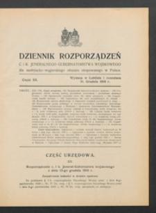 Dziennik Rozporządzeń c. i k. Jeneralnego Gubernatorstwa Wojskowego dla Austryacko-Węgierskiego Obszaru Okupowanego w Polsce 1916, Cz. 20 (31 grudz.)
